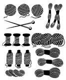 Nici dla szyć dla przecinających zaszywanie setu narzędzi dla szyć dziewiarskich igieł wełny knitwear przędzy nicianego dziewiars royalty ilustracja