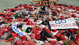 Nick Adenhart Memorial. A memorial set up by fans for Angel's rookie pitcher Nick Adenhart, who was killed by a drunk driver after pitching his first game Stock Photography