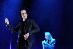 Nick Cave und die schlechten Samen versehen mit einem Band, führen an Ton-Festival 2013 Heinekens Primavera durch Stockbild