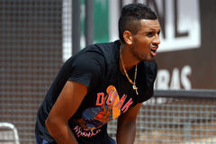 Nick Kyrgios (AUS). ROME, ITALY - MAY 8, 2016: Nick Kyrgios (AUS) during his practice session at the Internazionali BNL d'Italia in Rome, Italy Stock Images
