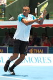 Nick Kyrgios of Australia backhand slice windup. Melbourne, Australia, 2016 January 13: Nick Kyrgios of Australia at an Exhibition and practice match at Kooyong Stock Photo