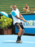 Nick Kyrgios of Australia at an practice match backhand Stock Photo