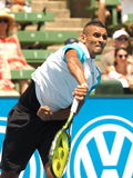Nick Kyrgios of Australia serve follow thorugh Royalty Free Stock Image