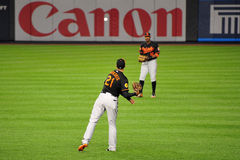 Nick Markakis und Adam Jones Warming Up Stockbild