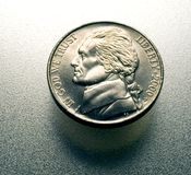 Nickel on metal. Surface isolated Royalty Free Stock Images