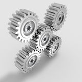 Nickel Metal Gears Meshing Royalty Free Stock Photography