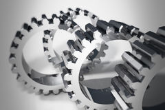 Nickel Metal Gears Meshing Stock Photography