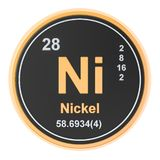 Nickel Ni chemical element. 3D rendering. Isolated on white background stock illustration