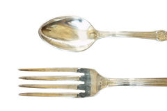 Nickel silver spoon and fork. With ornament isolated on white background Stock Photo