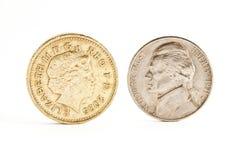 Nickel und Pfund stockfoto
