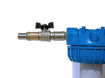 Nickeled fittings and nipple on the water filter isolated Stock Image