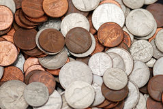 Nickels, Dimes and Pennies Royalty Free Stock Photo