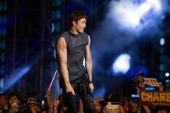 Nickhun (musikband 2PM) på den EquilibriumConcert Korea för mänsklig kultur festivalen i Vietnam Royaltyfri Foto