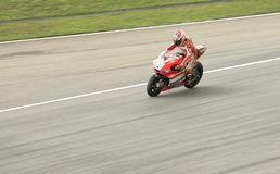 Nicky Hayden from Ducati Team action in Sepang Royalty Free Stock Image
