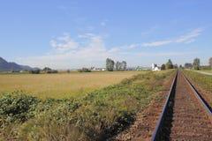 Único ferrovia no campo Imagem de Stock Royalty Free