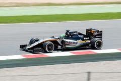 Nico Hulkenberg conduce el coche del equipo de Sahara Force India F1 en la pista para el Fórmula 1 español Grand Prix en Circuit  Imágenes de archivo libres de regalías