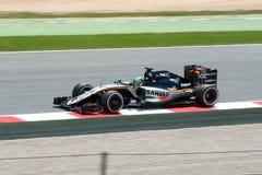 Nico Hulkenberg conduit la voiture d'équipe de Sahara Force India F1 sur la voie pour le Formule 1 espagnol Grand prix chez Circu Photographie stock libre de droits