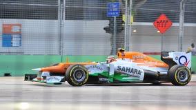 Nico Hulkenberg som är tävlings- i GP för F1 Singapore Arkivfoto