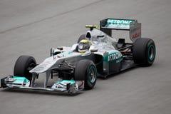 Nico Rosberg σε μια υψηλή ταχύτητα κατ' ευθείαν Στοκ Φωτογραφίες