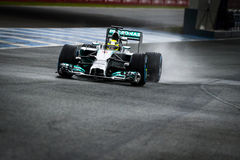 Nico Rosberg. JEREZ, SPAIN - JANUARY 31: Nico Rosberg testing his new Mercedes W05 F1 car on the first Test at the Jerez Circuit in Jerez, Andalucia, Spain on Stock Photography
