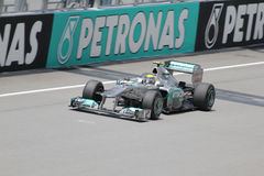 Nico Rosberg in action. At sepang circuit of Malaysia Grand Prix Stock Photo