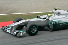 Nico Rosberg in action at Sepang, Malaysia Stock Images