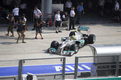 Nico Rosberg exits pit garage Royalty Free Stock Photos