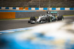 Nico Rosberg. JEREZ, SPAIN - FEBRUARY 2ND: Nico Rosberg testing his new Mercedes W06 F1 car on the first Test at the Jerez Circuit in Jerez, Andalucia, Spain on Stock Images