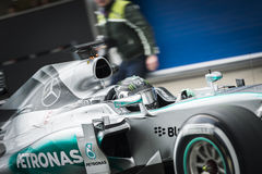 Nico Rosberg. JEREZ, SPAIN - FEBRUARY 2ND: Nico Rosberg testing his new Mercedes W06 F1 car on the first Test at the Jerez Circuit in Jerez, Andalucia, Spain on Royalty Free Stock Photography