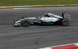 Nico Rosberg of Mercedes. Mercedes AMG PETRONAS driver, Nico Rosberg of Germany during practice session Formula One (F1) Grand Prix Malaysia PETRONAS at Sepang Royalty Free Stock Images
