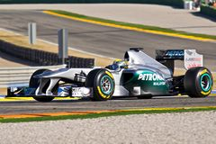 Nico Rosberg (Mercedes GP). Valencia - FEBRUARY 2: Nico Rosberg (Mercedes GP) tests his new F1 car during Formula One Winter Test Days at Cheste circuit February Stock Image