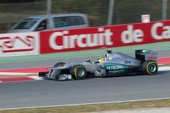 Nico Rosberg Mercedes W03 - de dagen Barcel van de Test Stock Afbeelding