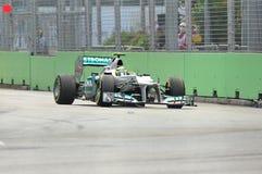 Nico Rosberg som är tävlings- i GP för F1 Singapore Arkivbild