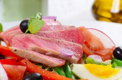 Nicoise with fresh tuna and vegetables Royalty Free Stock Photos
