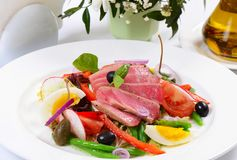 Nicoise with fresh tuna and vegetables Stock Photography