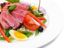 Nicoise met verse tonijn en groenten Stock Afbeelding
