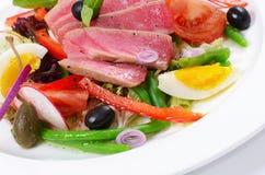 Nicoise met verse tonijn en groenten Royalty-vrije Stock Afbeelding