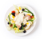 Nicoise salad from above royalty free stock images