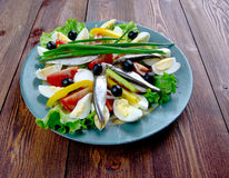 Nicoise Salad with anchovies Stock Photography