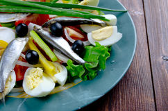 Nicoise Salad with anchovies Royalty Free Stock Photo