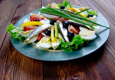 Nicoise Salad with anchovies Royalty Free Stock Image