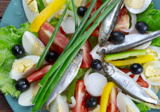 Nicoise Salad with anchovies Stock Photo