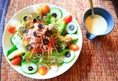 Nicoise salad with caesar cream sauce Royalty Free Stock Photo