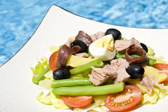 Nicoise Salad  and Pink Wine by the Pool Royalty Free Stock Photo