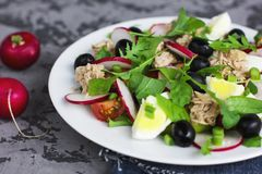 Nicoise salad with tuna, egg, cherry tomatoes and black olives. On grey dark barckground Royalty Free Stock Photography