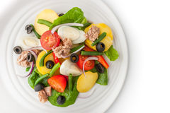 Nicoise salad on the white ceramic plate top view. Nicoise salad on the white ceramic plate on the white background top view Royalty Free Stock Image