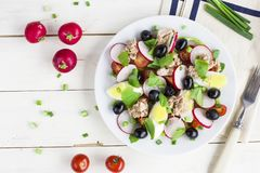 Nicoise Salad With Tuna, Egg, Cherry Tomatoes And Black Olives Royalty Free Stock Images