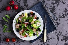Nicoise Salad With Tuna, Egg, Cherry Tomatoes And Black Olives Royalty Free Stock Photos