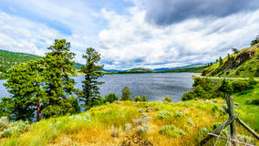 Nicola Lake and the Nicola Valley under Cloudy Skies Stock Image