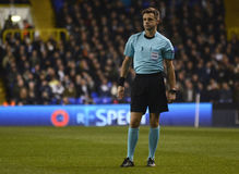 Nicola Rizzoli. Italian FIFA referee Nicola Rizzoli pictured during UEFA Europa League round of 16 game between Tottenham Hotspur and Borussia Dortmund on March stock photos